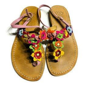 Italian made beautiful floral all leather sandals